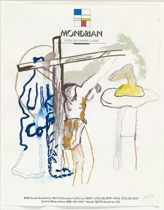Martin Kippenberger, Untitled (Mondrian), 1989, drawings on hotel stationary containing a sense of urgency using what was available at the time (referencing visual and verbal puns)