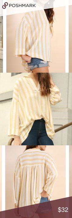 Striped collared tunic High Low hen spring fashion Striped collared tunic High Low hen spring fashion  Honey and Black Tops Blouses