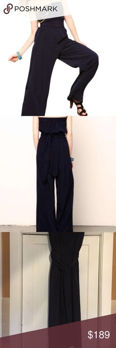 Miguelina strapless jumpsuit Miguelina navy belted strapless jumpsuit adorable Miguelina Pants Jumpsuits & Rompers