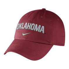 Nike™ Men's University of Oklahoma Heritage86 Wordmark Swoosh Flex Cap (Red Dark, Size One Size) - NCAA Licensed Product, NCAA Men's Caps at Academ...