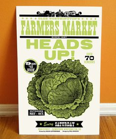 HEADS UP Letterpress Farmers Market Poster, featuring illustration with woodtype, Made in Ohio. $25.00, via Etsy.