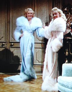 From another Betty Grable movie - Betty and June Haver in The Dolly Sisters in matching boudoir gowns.