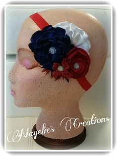 White, navy blue and red headband