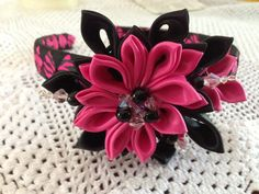 Black and Pink headband with beads fancy party by 3BusyBirds, $15.00