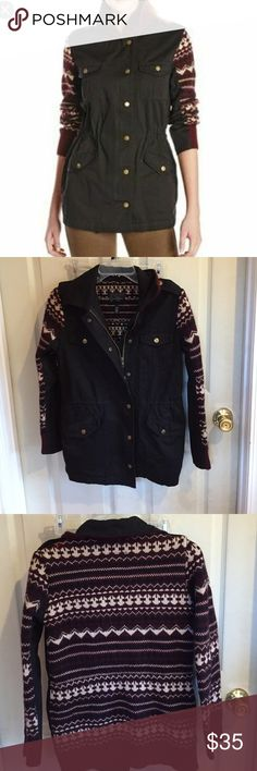 """Jessica Simpson Shawna Sweater Jacket Cotton/acrylic. Black cotton front with zipper and snaps, two chest pockets, and two front pockets. The back and tops of the sleeves are sweater-material. Bust is about 18"""" flat and length is about 27"""". The sweater part has some pilling. Jessica Simpson Jackets & Coats"""
