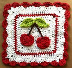 Free pattern for cute Cherry Dishcloth @ Maggie's Crochet