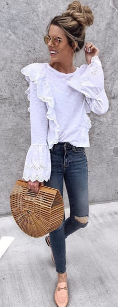 #spring #outfits woman wearing white long-sleeved shirt and pants. Pic by @jenniferxlauren