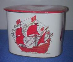 Vintage Toffee Sweet Tin Galleon Ship Compass Top 12MB Metal Box Company Circa 1950s