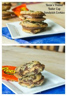 Reese's Peanut Butter Cup Sandwich Cookies - chocolate chip cookies sandwiched around a Reese's Peanut Butter Cup.  A Must Pin!
