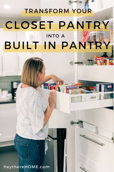 Transform your dysfunctional closet pantry into an organized kitchen pantry with drawers and pull out shelves! Click through to see this pantry makeover and how she created an organized pantry with Ikea cabinets. Kitchen Organization Pantry, Organized Kitchen, Kitchen Pantry, Ikea Pantry, Pantry Storage, Pull Out Pantry, Built In Pantry, Ikea Kitchen, Kitchen Ideas