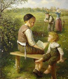 Elena Flerova -Children in the Forest II- Jewish Art Oil Painting Jewish History, Jewish Art, Oil Painting Gallery, Art Gallery, Painting Art, Charles Edward, People Reading, Emo Love, Russian Painting