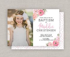 Items similar to LDS Baptism Invitation - Maddie on Etsy Baptism Ideas, Baptism Gifts, Baptism Invitations, Church Ideas, Lds, White Envelopes, Menu, Drop, Prints