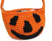 Crochet Jack o' Lantern Bag, Toddler's Trick or Treat Candy Bag, Pumpkin Goody Bag - pinned by pin4etsy.com