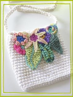 lovely crocheted purse with freeform appliques