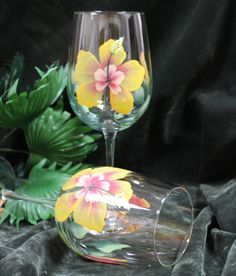 Set of 2 Hand Painted Wine Glasses - Yellow Hibiscus by SilkEleganceFlorals on Etsy