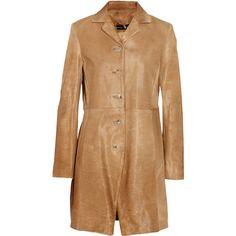 Theyskens' Theory Menka calf hair coat (54.540 RUB) ❤ liked on Polyvore featuring outerwear, coats, coats & jackets, camel, camel coat, pony hair coat, beige coat and theyskens' theory