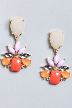 coral and lavender statement earrings