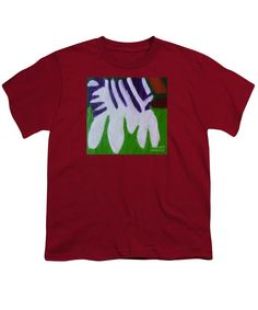 Patrick Francis Designer Youth Cardinal Red T-Shirt featuring the painting Zebra 2014 by Patrick Francis