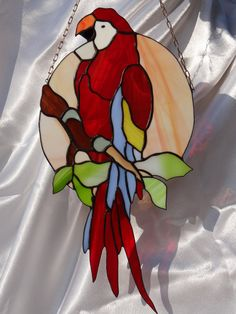 Tiffany Stained Glass Suncatcher parrot by ArtesanaPL on Etsy Tiffany Stained Glass, Stained Glass Birds, Stained Glass Suncatchers, Stained Glass Designs, Stained Glass Panels, Stained Glass Projects, Stained Glass Patterns, Mosaic Art, Mosaic Glass