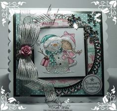 Handmade Christmas Card Using Using Wild Rose Studio New Release Image - Girl and Snowman Papers - Festive Wishes and Wintry Christmas Sentiment - Christmas Labels Downrightcrafty
