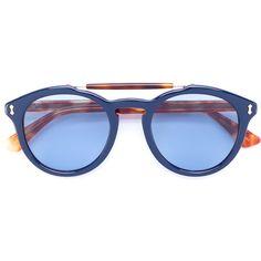 Gucci Eyewear double bridge sunglasses (22.625 RUB) ❤ liked on Polyvore featuring men's fashion, men's accessories, men's eyewear, men's sunglasses, brown, mens brown sunglasses, gucci mens sunglasses and mens tortoise shell sunglasses