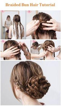 Braided Bun Hair Tutorial -love the braid on the sides
