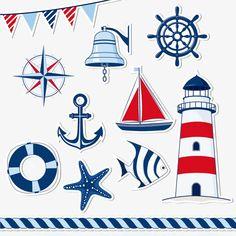 Illustration of Nautical design elements vector art, clipart and stock vectors. Nautical Design, Nautical Home, Vintage Nautical, Nautical Banner, Diy And Crafts, Paper Crafts, Lifebuoy, Sea Art, Rock Art