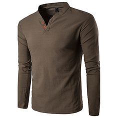 Hombre Activo Deportes Trabajo Tallas Grandes Algodón Lino Camiseta, Escote en Pico Un Color 2018 - €14.39