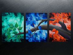 ORIGINAL abstract tree contemporary landscape modern by GossArt, $590.00 simple idea, triptych separate color for each panel, art inspiration, painting