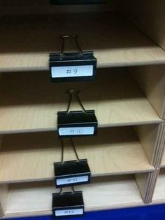 Easily swap out categories for shelves by using binder clips.