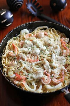 Creamy Seafood Alfredo - don't be afraid to substitute and/or mix seafood. Be daring, different combos blend well together. The flavors can compliment each other well. **fresh seafood is always best, and preferred, for better results**