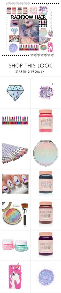"""""""Rainbow 🌈"""" by meownderland ❤ liked on Polyvore featuring beauty, Unicorn Lashes, The Gypsy Shrine, Lime Crime, Sugarpill, FCTRY and Clare Celeste"""