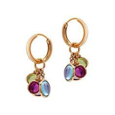 Mischief Disc multicolour gemstone charm earrings