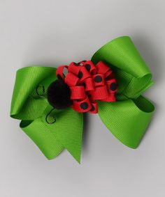 Take a look at this Picture Perfect Hair Bows Green Bow & Ladybug Clip Set on zulily today! Ribbon Hair Bows, Diy Hair Bows, Bow Hair Clips, Bow Clip, Ribbon Art, Ribbon Crafts, Barrettes, Hairbows, Ribbon Sculpture