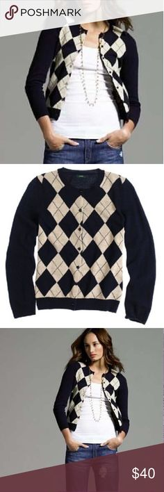 JCrew Sparkle Argyle Cashmere Sweater JCrew Sparkle Argyle Cashmere Sweater. Navy/Gold. Great for Work or with Jeans. Flattering Fit. J. Crew Sweaters Cardigans