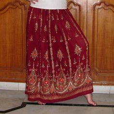 Gypsy Skirt: Maroon Maxi Skirt, Long Flowy Boho Bohemian Indian Brick Red Skirt