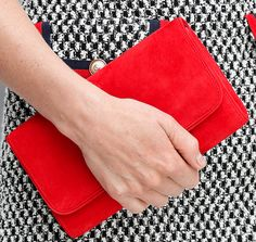 Emmy London 'Natasha' clutch in red suede