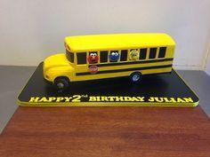 Yellow school bus cake