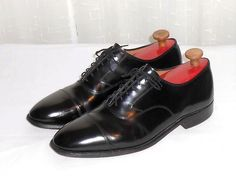Johnston & Muprhy Men's Black Leather Cap Toe Oxford Shoe Size 10.5  E/C #JohnstonMurphy #CapToeOxford