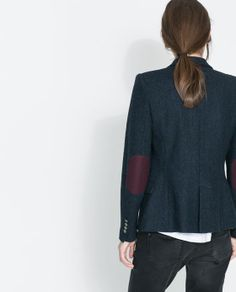 Image 5 of WOOLLEN BLAZER WITH ELBOW PATCHES from Zara
