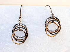 Multi Hoop Drop Earrings   Pierced Ears by GemstoneCowboy on Etsy