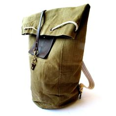 These Duffel BackPacks are made from vintage duffel bags and high quality latigo leather, $350