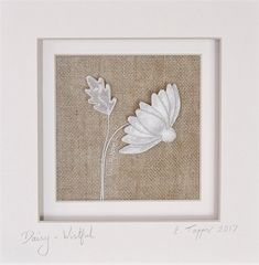 Antique Linen Stumpwork Daisy: 'Wistful' - Hand Embroidered Art by The Art of the Needle