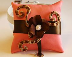 Blush and Brown Ring Pillow,Ring Pillow attach to the High quality Leather Collar, Ring Bearer Pillow, Pet wedding accessory