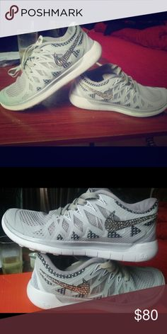 Nike Free 5.0 Swarovski Bling Gray Shoes I've worn them quite a bit but only went running in them once. They are still in good shape. Just selling because I've been running in the Saucony shoes I bought instead. Nike Shoes Athletic Shoes
