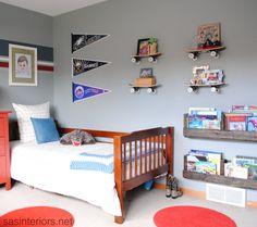 super cute little boys bedroom... i love the skateboard shelves!