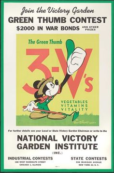 """""""Join the Victory Garden GREEN THUMB CONTEST"""" with Mickey Mouse US c. 1944"""