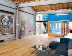 Interesting idea using shipping containers inside a loft