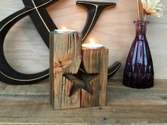 place to buy and sell all things handmade Star Candle Holder Anniversary Gift Farmhouse Decor Rustic Candles, Rustic Candle Holders, Candle Holder Set, Tea Light Candles, Tea Lights, Christmas Tree Candle Holder, Handmade Christmas Tree, Christmas Candles, Christmas Holiday