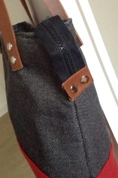 Leather and fabric bag. Hand Made. Made in Italy.
